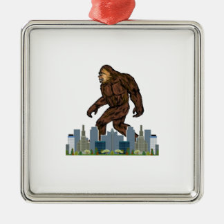 Yowie at Large Silver-Colored Square Decoration