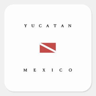 Yucatan Mexico Scuba Dive Flag Square Sticker