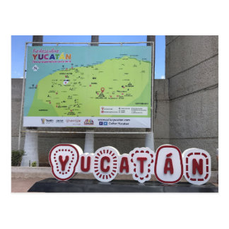 Yucatan Sign and Map, Mexico Postcard