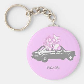 Yugo girl basic round button key ring