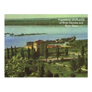 Yugoslavia, confluence of River Danube, River Save Postcard