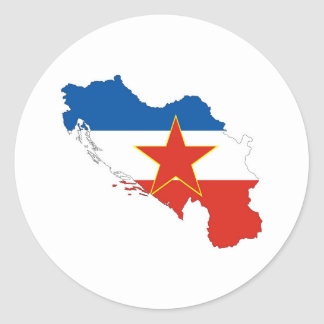 yugoslavia country flag map shape silhouette symbo classic round sticker
