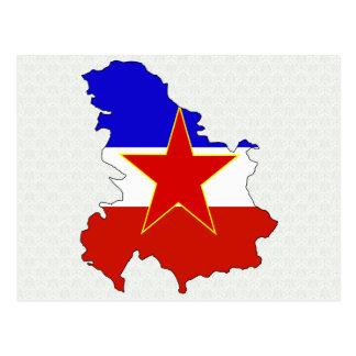 Yugoslavia Flag Map full size Postcard