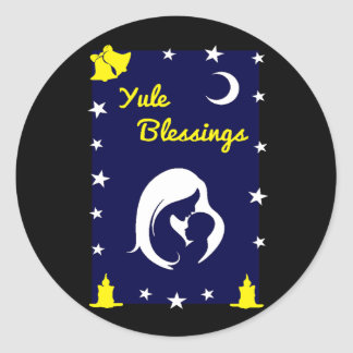 Yule Blessings Round Sticker