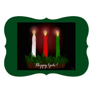 """Yule Candles Winter Solstice Witch Wiccan Pagan 5"""" X 7"""" Invitation Card"""