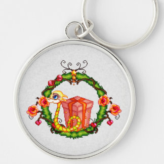 Yule Dragon Wreath Pixel Art Silver-Colored Round Key Ring