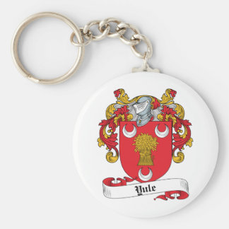 Yule Family Crest Basic Round Button Key Ring