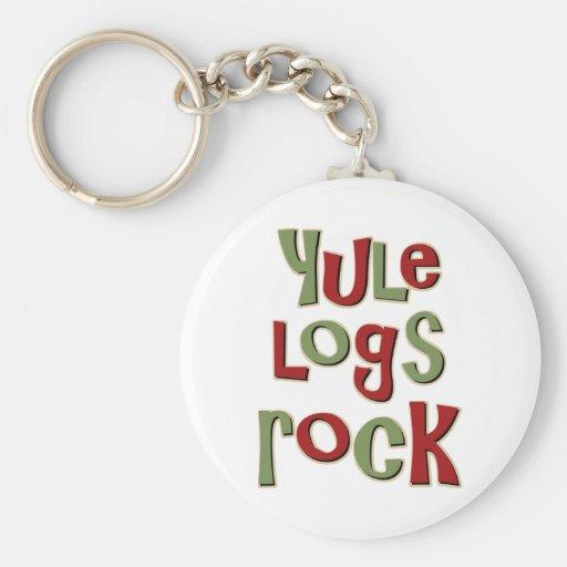 Yule Logs Rock Christmas Design Key Chain
