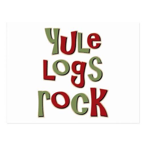 Yule Logs Rock Christmas Design Postcards