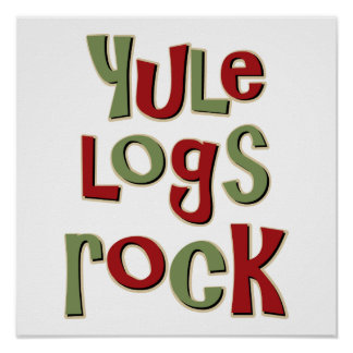 Yule Logs Rock Christmas Design Poster