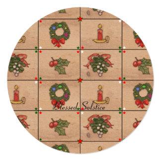 Yule Medley Retro Winter Solstice 13 Cm X 13 Cm Square Invitation Card