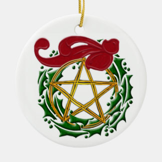 Yule Pentacle, Wreath & Red Bow - Double-Sided Ceramic Ornament