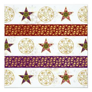 Yule Pentagrams & Snowflakes - Greeting Card