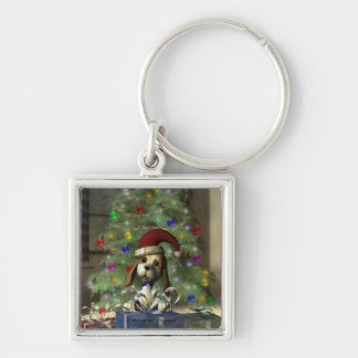 Yule Puppy Square Keychain