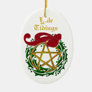Yule Tidings Pentacle & Wreath Double-Sided #2 Ceramic Ornament