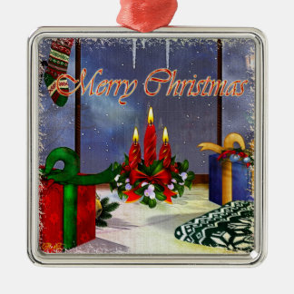 Yule Time Reflections Holiday Art Silver-Colored Square Decoration
