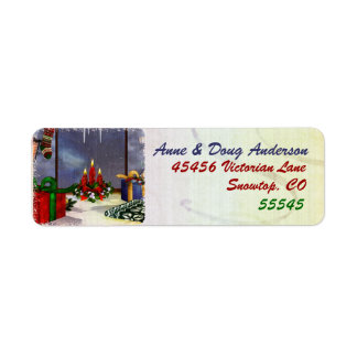 Yule Time Reflections Holiday Art Return Address Label