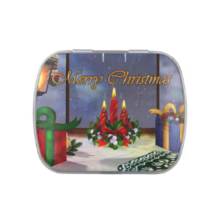 Yule Time Reflections Holiday Art Candy Tin