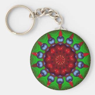Yule Wheel Kaleidoscope Mandala Basic Round Button Key Ring