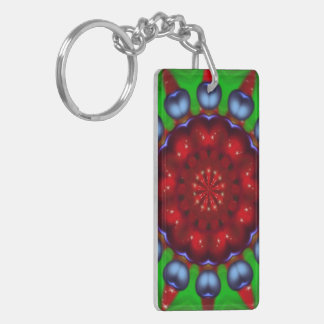Yule Wheel Kaleidoscope Mandala Double-Sided Rectangular Acrylic Key Ring