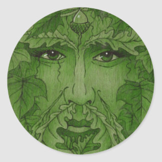 yuleking green classic round sticker