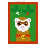 Yuletide ferret greeting card