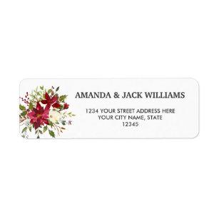 Yuletide | Poinsettia Christmas  Floral Wedding Return Address Label
