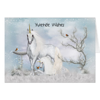 Yuletide - Yule, Greeting Card With Unicorns