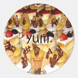 Yum deserts round sticker
