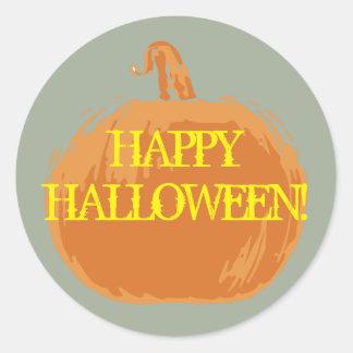 """YUM! """"HAPPY HALLOWEEN!"""" Pumpkin Party Stickers! Round Sticker"""