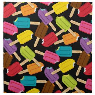 Yum! Popsicle Napkins Set/4 — Black