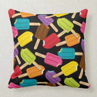 Yum! Popsicle Pillow — SQUARE (Black) Cushions