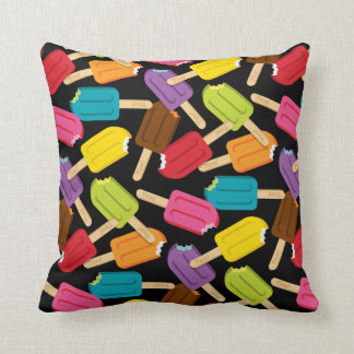 Yum! Popsicle Pillow — SQUARE (Black) Throw Cushion