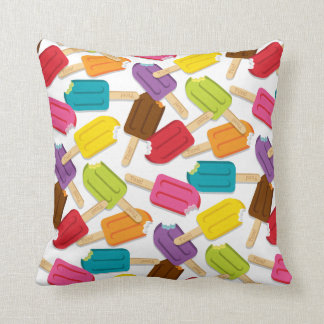 Yum! Popsicle Pillow — SQUARE (White) Throw Cushion