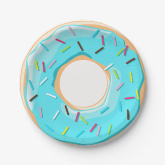 Yummy aqua donuts sprinkles toppings pattern paper plate