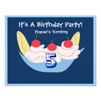 Yummy Banana Split Birthday Party Invitation