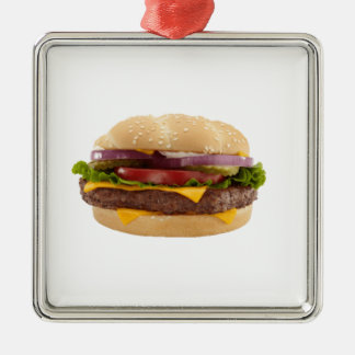 Yummy Burger Metal Ornament