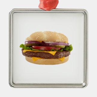 Yummy Burger Silver-Colored Square Decoration