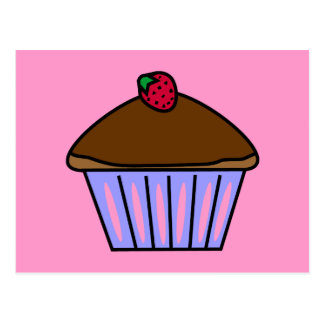 Yummy Chocolate Cupcake in Pink and Purple Postcard
