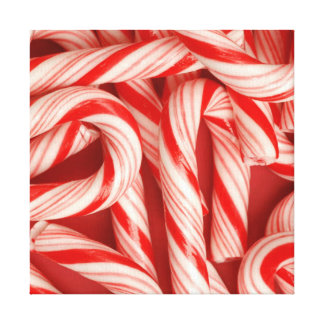 Yummy Christmas Holiday Peppermint Candy Canes Gallery Wrap Canvas