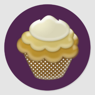 yummy coffee cupcake round sticker