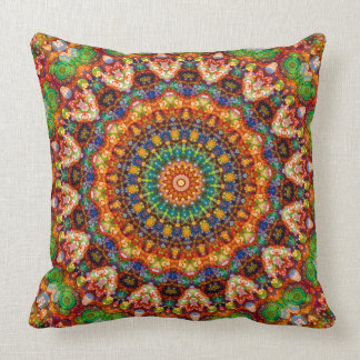 Yummy Colorful Jellybean Mandala Kaleidoscope Throw Pillow