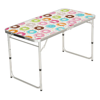 Yummy colorful sprinkles donuts toppings pattern beer pong table