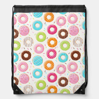 Yummy colorful sprinkles donuts toppings pattern drawstring bag
