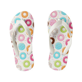Yummy colorful sprinkles donuts toppings pattern kid's thongs