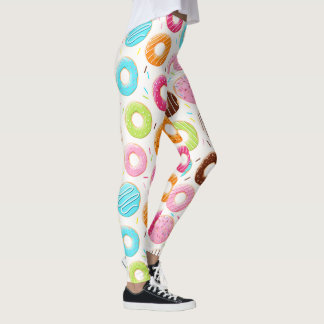 Yummy colorful sprinkles donuts toppings pattern leggings