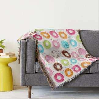 Yummy colorful sprinkles donuts toppings pattern throw blanket