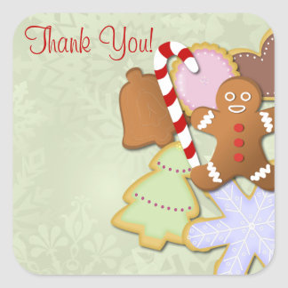 Yummy Cookie Exchange Thank You Sticker- mint Square Sticker