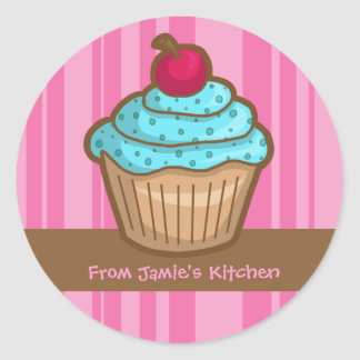 Yummy Cupcake and Cherry Classic Round Sticker