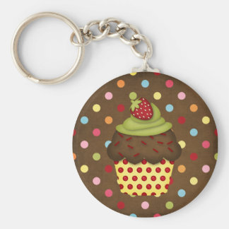 yummy cupcake basic round button key ring